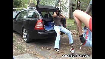 gigantic-chested fledgling wifey plumbed in a truck with pop-shot
