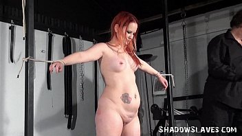 ginger-haired first-ever-timer victims caning and roped basement tit.