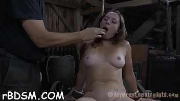 ball-gagged honey gets her racks bounded.
