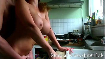 thick-boobed wifey porked in the kitchen.