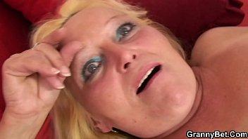 ash-blonde stretches her furry older slit.
