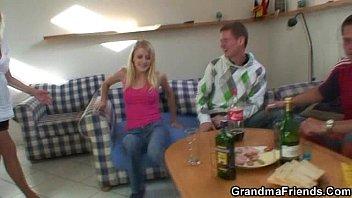 partying folks pummel ash-blonde granny
