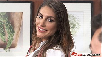 august ames plays with dentist devices with a patient