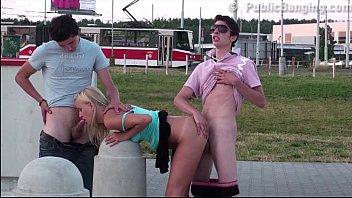 sensacional public gang-pummel teenager 3 way romp with.