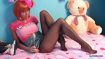 mischievous teenage in sheer ebony tights and uber-sexy.
