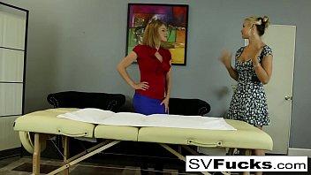 sarah gets a deep tissue rubdown.