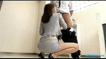 office chick providing fellatios for 2 dudes ejaculates.