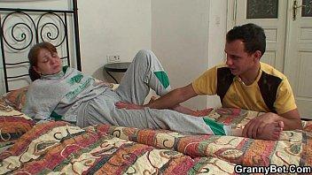 he heals injured aged unshaved-slit grandmother