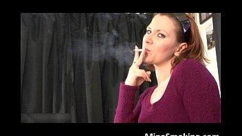 supah-sexy ebony-haired honey smokes a ciggy