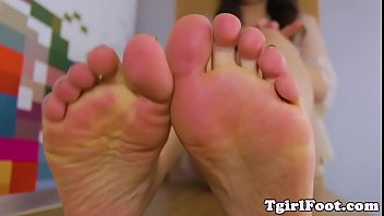 toes fetish tgirl taunting with her.