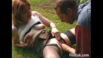 red-haired biotch gets her labia fisted.