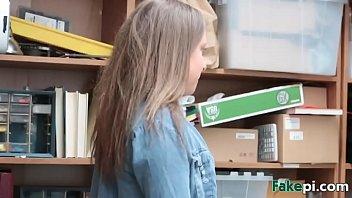 guiltless ash-blonde school gal dark-hued mailed by faux boss