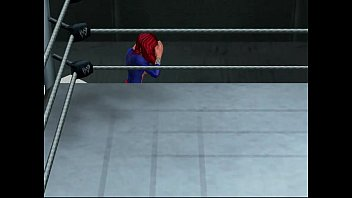 bare-chested superheroine grappling match dark-hued wydow.
