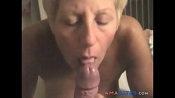 mature wifey deep throats hubby weenie.