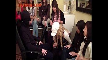 group of women mocks a boy slobber in.