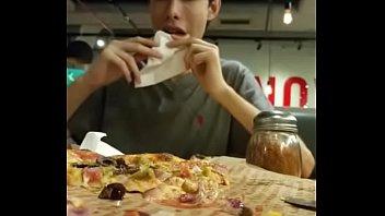 gigantic supah hot pizza being eaten.