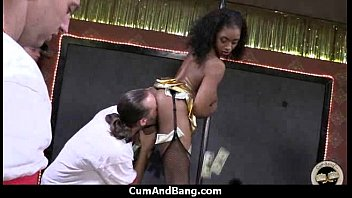 interracial group blow-job from a dark-hued.