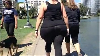 large milky plus-size candid spandex bum.