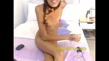 bony web cam nymph in glasses flashes vag.
