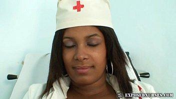 dark-hued nurse manuela speculum and faux-cock.
