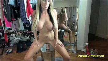mature phat melons silver-blonde fingerblasting and romping slick-shaven gash