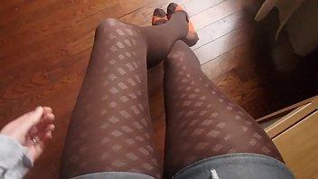 Sukkahousut sile&auml_&auml_ nylon jalka Fetissi teini jalat