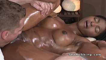 warm nude dark-hued honey romping masseuse