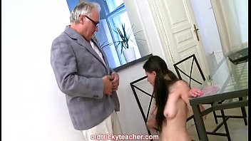 student gargling her instructor and doing it on table