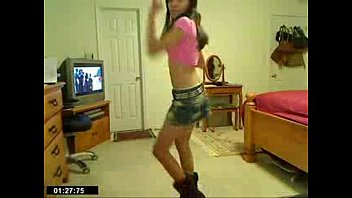 glorious thin lady dancing in jean mini-skirt - spankbangorg