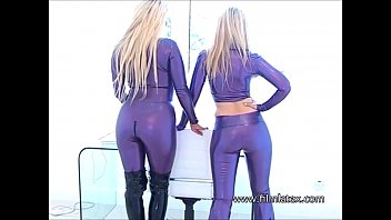 girl-on-girl spandex fetish honies intimate glossy love mitten.