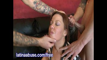 latina degraded by milky fellows with.