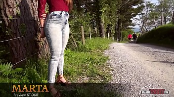 supah-sexy nubile in taut jeans with wobbling butt cheeks