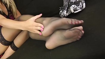 stellar blondie with glasses gives nylon feet taunt.
