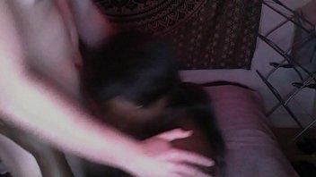 ebony woman gargles milky stud