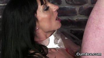 sex-positive honey gets jizm blast on her face.