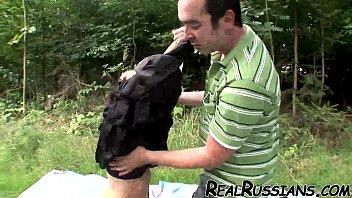 russian fledgling banging outdoor