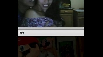 chatroulette teenie duo observing another duo.