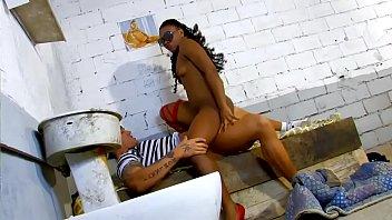 dark-hued damsel penetrates with a prisoner.