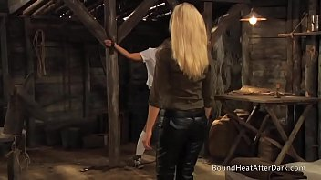 dominatrix and handmaiden kinky maid coochie-strangling on youthful sub