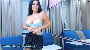 stunning cougar donk undresses at the office -.
