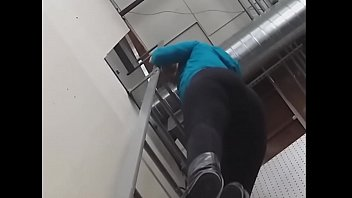 female in cock-wringing stretched pants climbs.