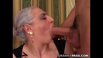 grandma fellates ample youthful shaft