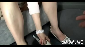 japanese cougar stretches gams for knob in crimson-hot.