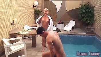 blond ladyboy deep-throats spear and bangs.