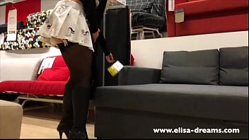 upskirt and flashing no underpants in a legendary supermarket