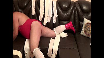 self spanking fellow in crimson shoes and milky.