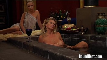 good-sized-boobed domme fapping in bathtub and sub gets lashed