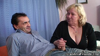 buxom granma in tights takes two.
