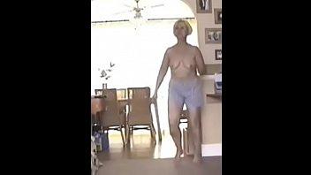 57 year older cougar total striptease in puppy pj's