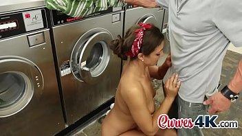 nice girl deepthroating dinky on floor